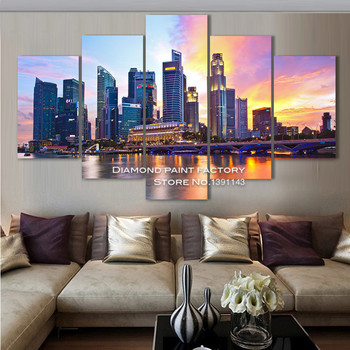 New sale City sunset Diamond embroidery 3D Diy Diamond Painting cross stitch full square needlework scenery Multigang decoration