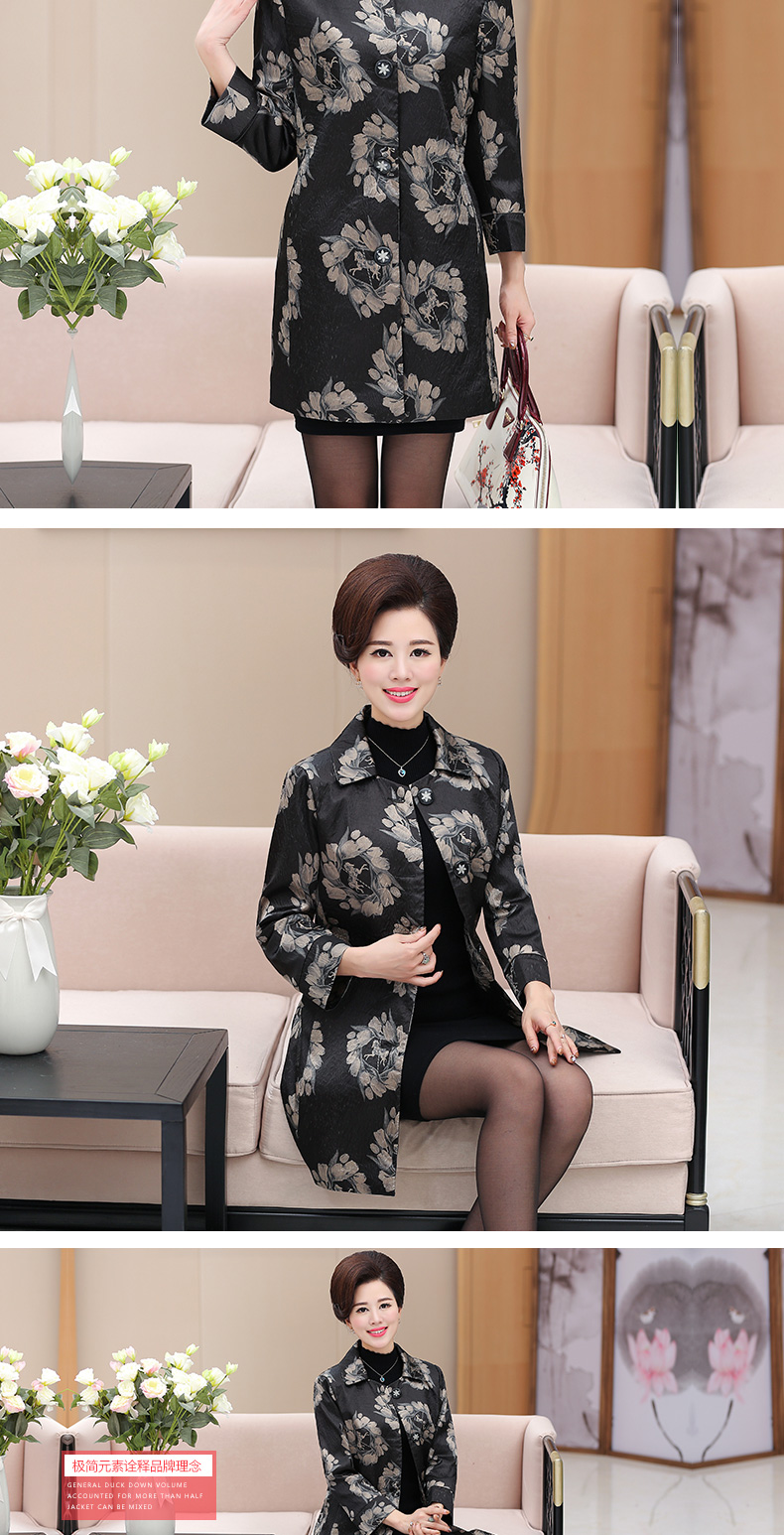 Chinese Women\'s Elegant Floral Trench Coats Single-breasted Duster Coat Matrue Woman Office Outfit Mandeau Femme Overcoats 2017 (7)