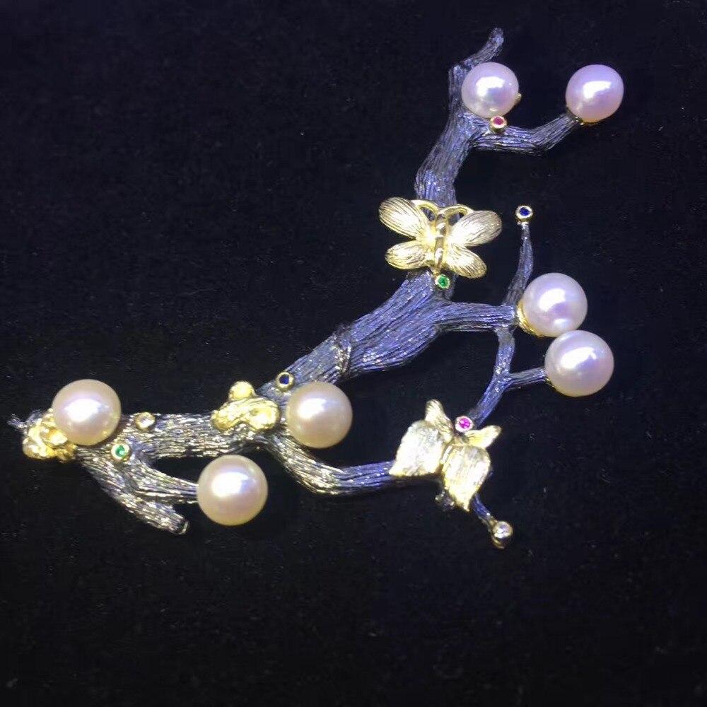 Véritable naturel eau douce perle broche broches branche d'arbre vintage mode femmes bijoux blanc gris violet couleur papillon - 6