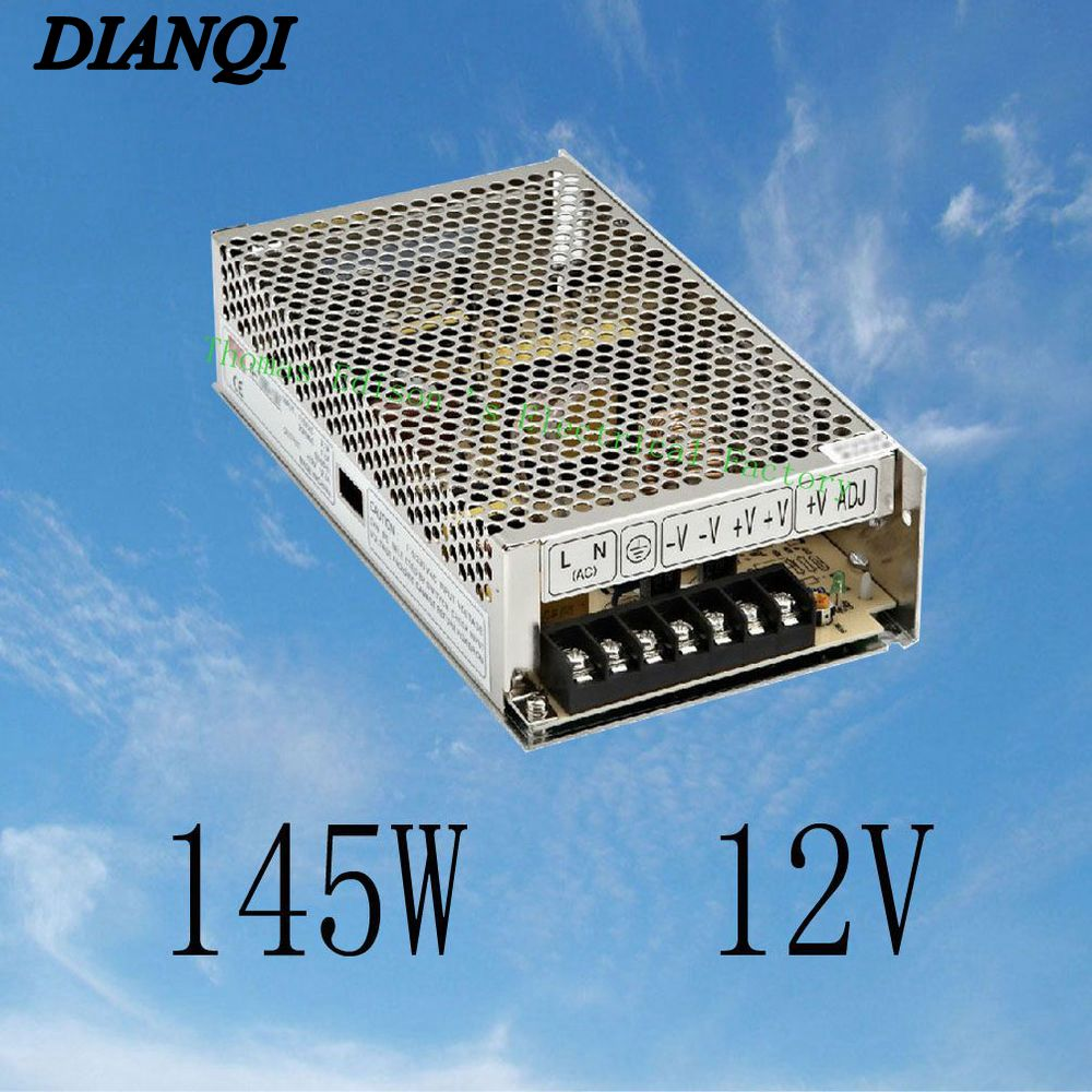 led power supply switch 145W 12V 12A ac to dc converter variable dc voltage regulator S-145-12 adjustable output 5V 24V mdr 60 single output switching power supply 60w 5v 12v 24v ac dc converter variable dc voltage regulator