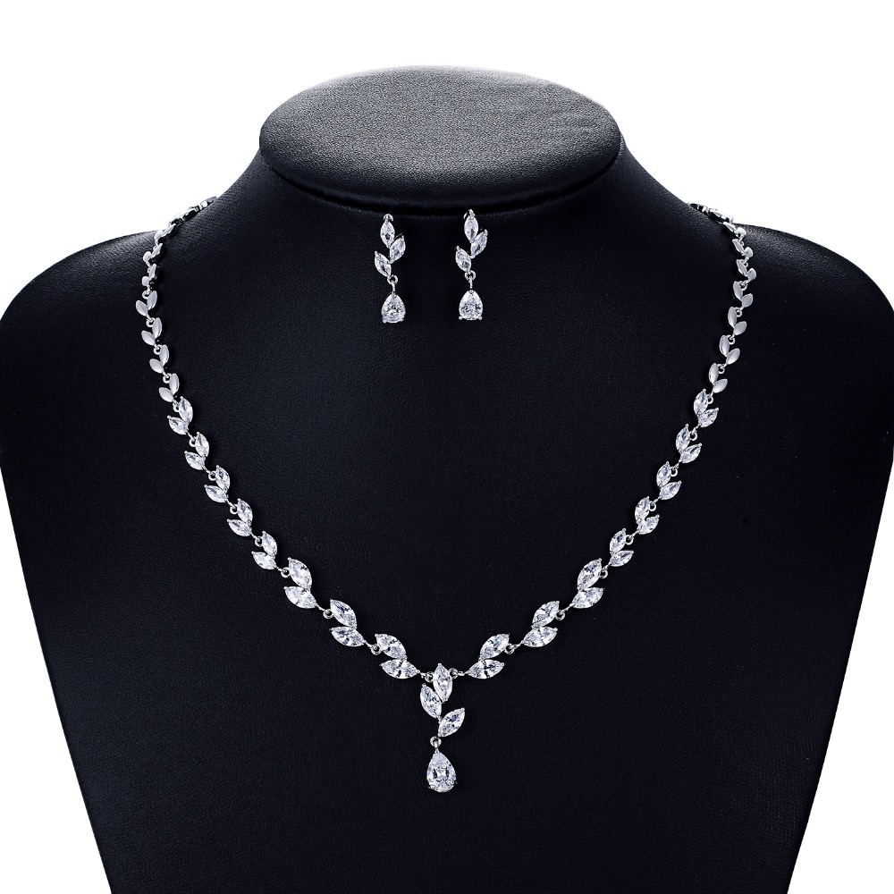 Crystal CZ Cubic Zirconia Bridal Wedding Necklace Earring Set Jewelry Sets for Women Accessories CN10132 weimanjingdian brand sparkling cubic zirconia cz crystal zircon flower necklace and earring wedding bridal jewelry sets