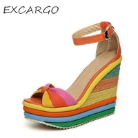 Small Size 32 33 Rainbow Women Sandals Platform Wedge Summer Shoes Colorful Open Toe High Heels