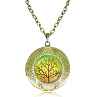 Tree Painting Necklace Fall Tree Locket Necklace Green Tree Sliver Jewelry Holidays Gift Idea Glass Cabochon