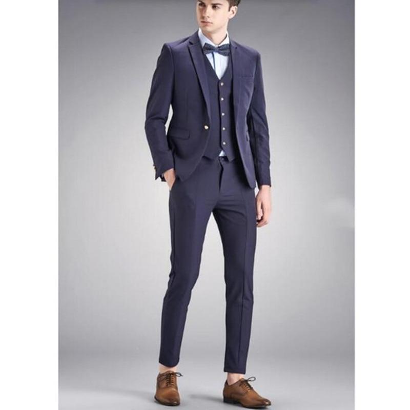 Best Man Suit Male Mens Suits Formal Occasions The Groom Dress Party Classic Designs Men Suit (jacket + Pants + Vest+bow Tie)