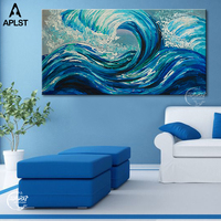 Hand Painted Blue Ocean Waves Oil Painting Large Seascape View Picture Canvas Art Poster for Home Decoration (No frame )