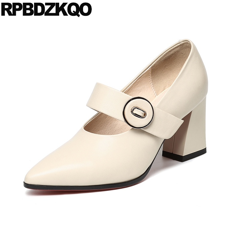 Beige High Heels 3 Inch Strap Quality Block 2018 Genuine Leather Black Mary Janes Women Shoes Pumps Formal Pointed Toe Size 4 34 large size 42 rhinestone shoes women low heel pumps pointed toe genuine leather shoes women high heels mary janes ladies shoes