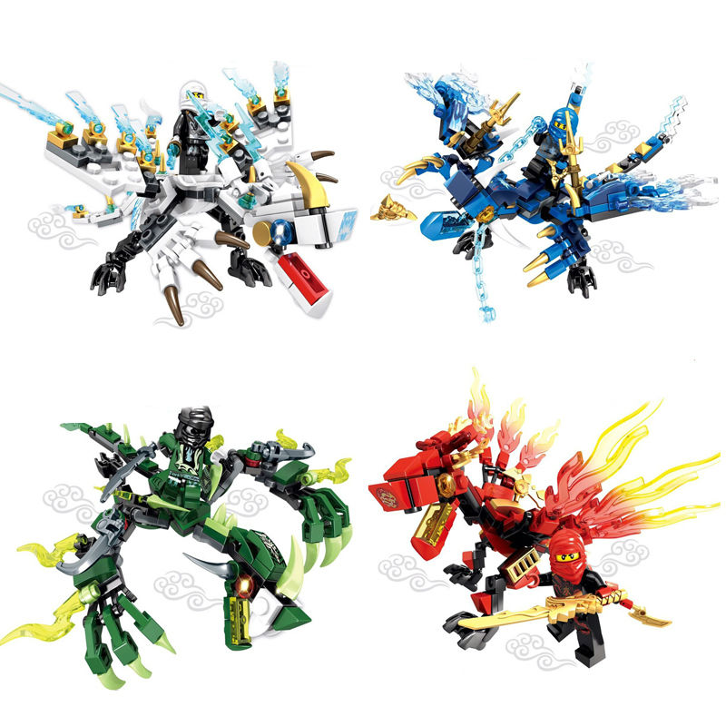 все цены на moc compatible legoinglys ninjagoinglys dragon with weapons building blocks toys for children gifts