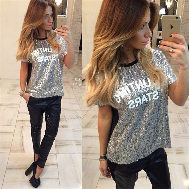 00375e7d7 gagaopt 2016 New t shirt Women Shining Sequins letters printed OUNTING  STARS women tops Patchwork silver Tees camisetas mujer