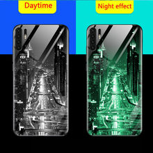 Luminous Glass Phone Case For huawei P30 pro P30 case shockproof Back Cover For huawei P30 Lite Nova 4E Night Shine Glass Cases(China)