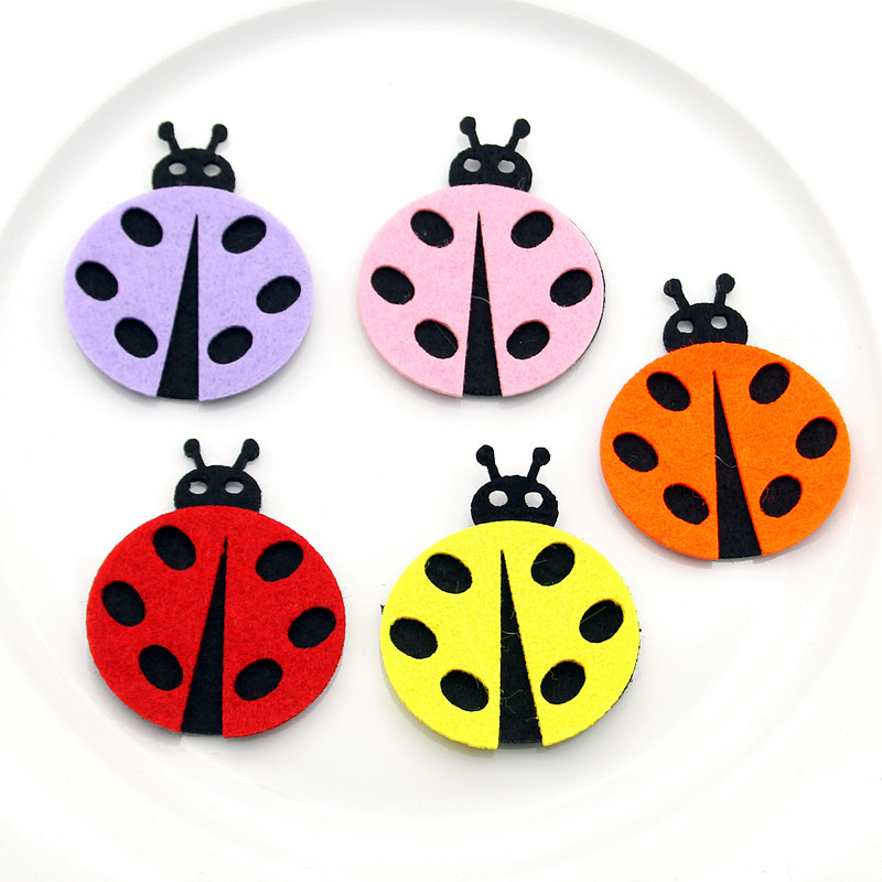 5pcs Felt Cloth Cartoon Beatles Material DIY Children Room Handwork Kid Toy Ladybug For Kids Home Decoration Craft Jewelry New