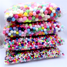 Pompom 10 15 20 25mm Mixed Color Fur Plush Pompom Ball for DIY Craft Soft Wedding Home Decor Garment Sewing on Cloth Accessories pompom