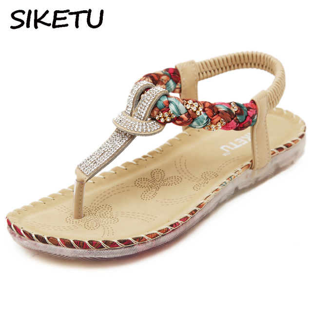 SIKETU Boho Bohemian National Rhinestone Crystal Diamond Flat Shoes Women  Sandals Summer Ethnic Beach Casual Shoes 30f82c62a5df