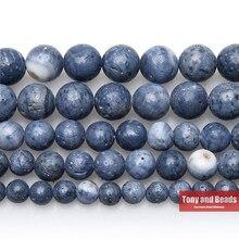 Perles de corail bleu en vrac, pierre naturelle, cordon de 15 pouces, taille au choix 6 8 10 12 MM, pour la fabrication de bijoux