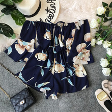Fashion New Off Shoulder Sexy Summer Floral Print Rompers Short Jumpsuit Casual