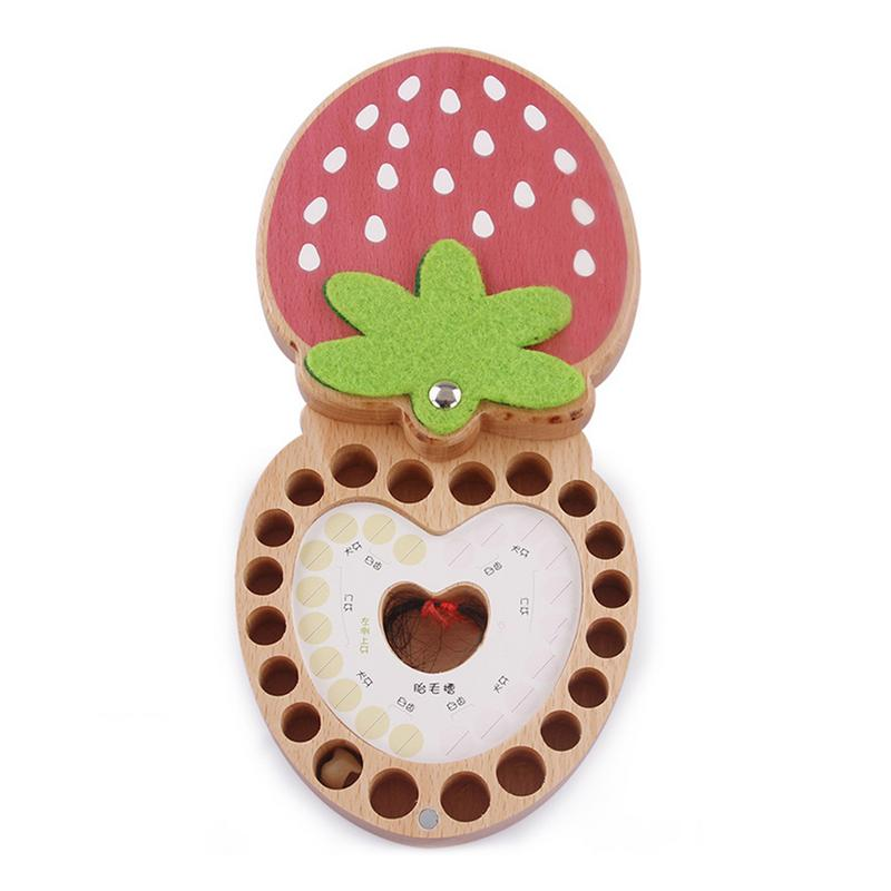 Newbron Milk Teeth Box Strawberry Baby Wooden Tooth Box Babies Tooth Organizer Kids Deciduous Storage Box Creative Gift