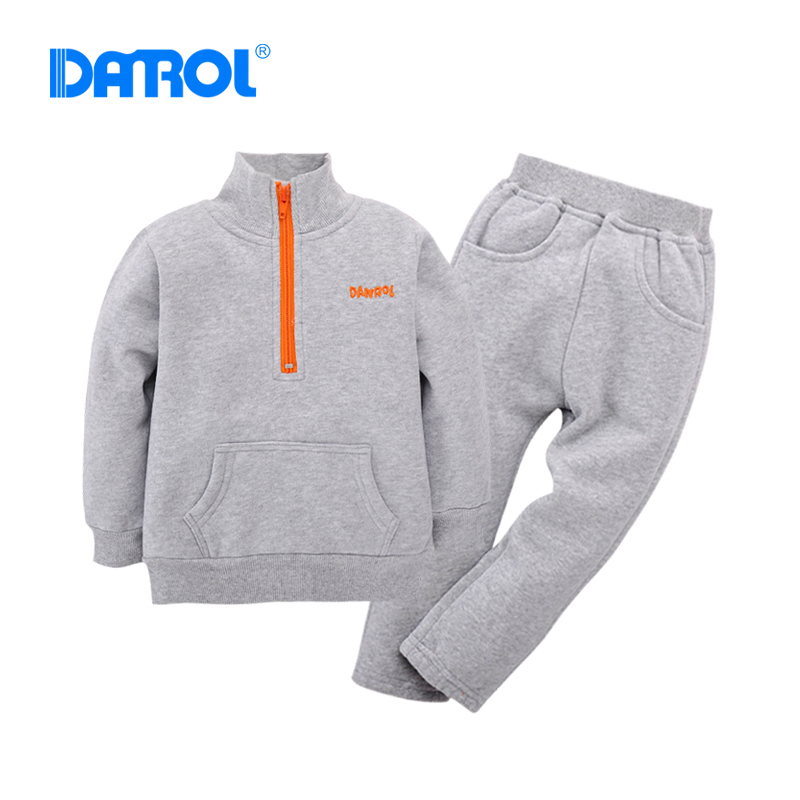 Soft Active Solid Baby Boy Girl Hoodies Sets Fleece Long Sleeve Stand Collar With Zipper Long Pants Children Sport Suit DR0186