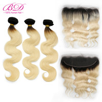 BD HAIR 1b/613 Ombre blonde Human Hair Bundles with Frontal Brazilian Body Wave Remy Hair Lace Frontal With Hair Bundles