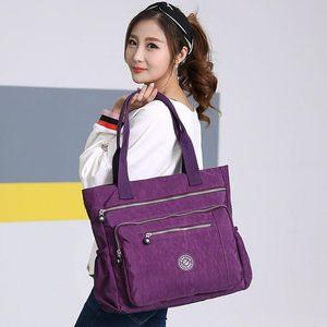 Image 2 - Женская Высококачественная нейлоновая сумка, повседневная большая сумка на плечо, модная вместительная сумка, брендовая дизайнерская Водонепроницаемая большая сумка L81