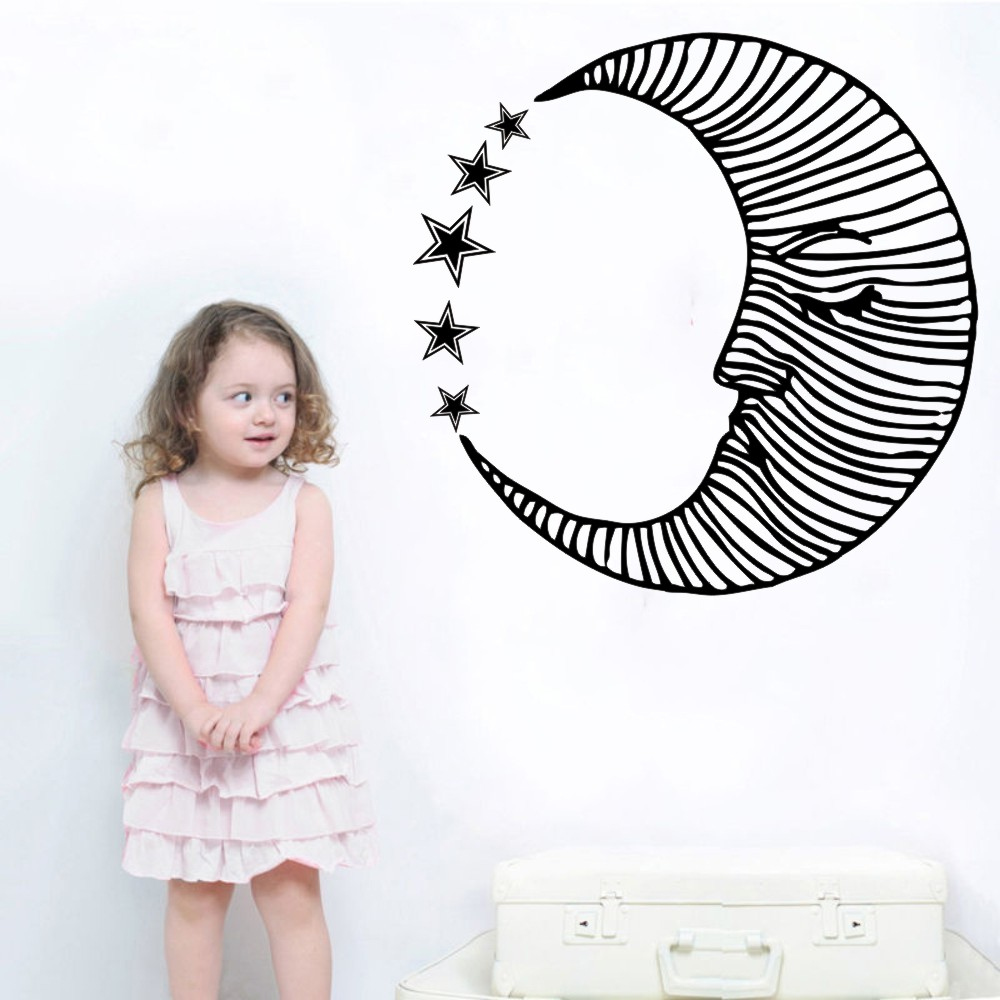 Beauty Moon Face Art Design Creative Wall Decals Bedroom Nursery Room Fashion Decorative Wall Mural Moon Pattern With StarsY 932 in Wall Stickers from Home Garden