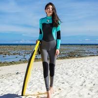 Hisea Women 1.5MM Full Wetsuit Neoprene Long Sleeve Jumpsuit Scuba Diving Surf Snorkeling Suits Warm Wet suit Women Female Blue