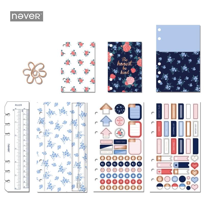 NEVER Rosebush Series Notebook decoration stationery kit Paper Clips Ruler PVC zipper bag label stickers for A6 Spiral Planner