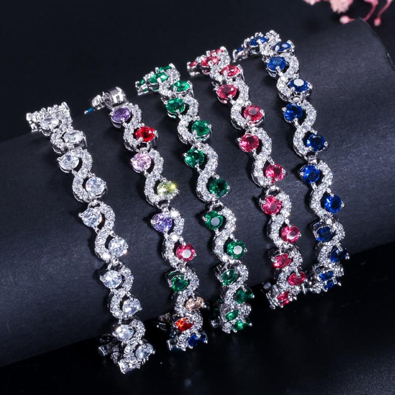 BeaQueen charmante donkerblauwe kristallen dames tennisarmbanden met - Mode-sieraden - Foto 6