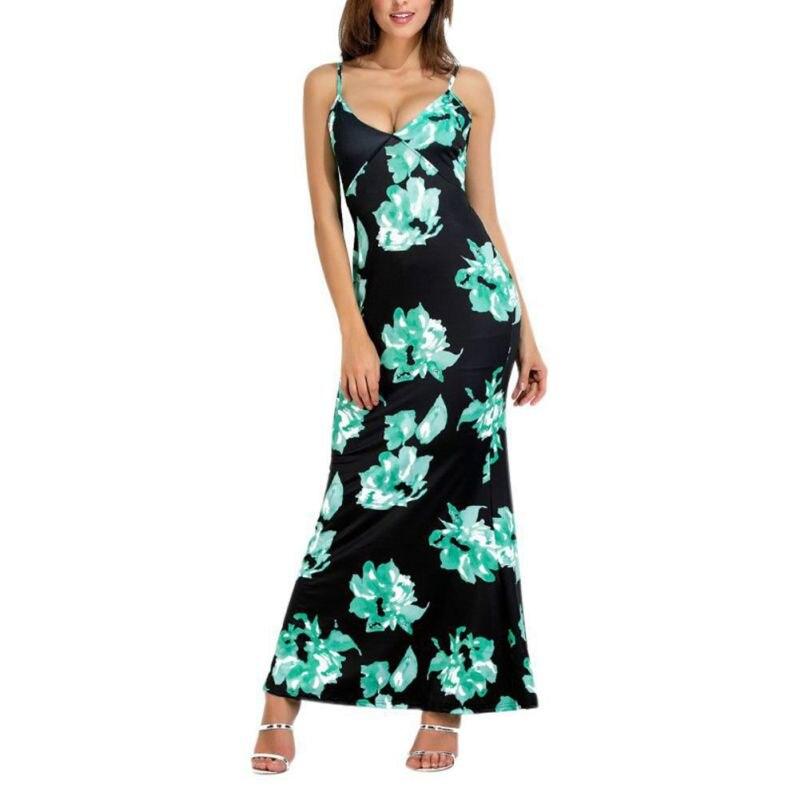 Women Sexy V-neck  Party Dress Summer  Long Cocktail Beach Wear Floral Print Dress Women Bodycon Dress