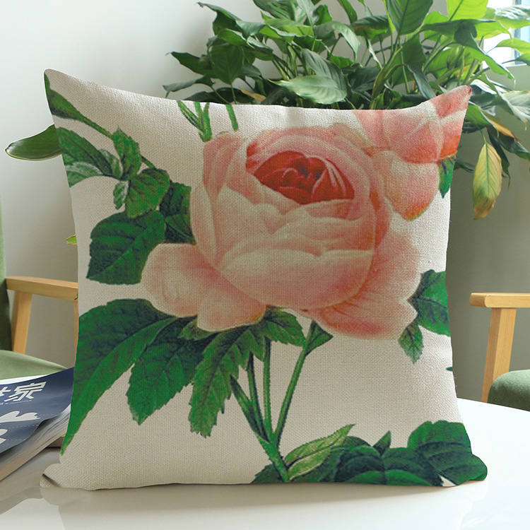 Rural Style Chinese Rose Garden Cushion Cover Fresh Home Decor