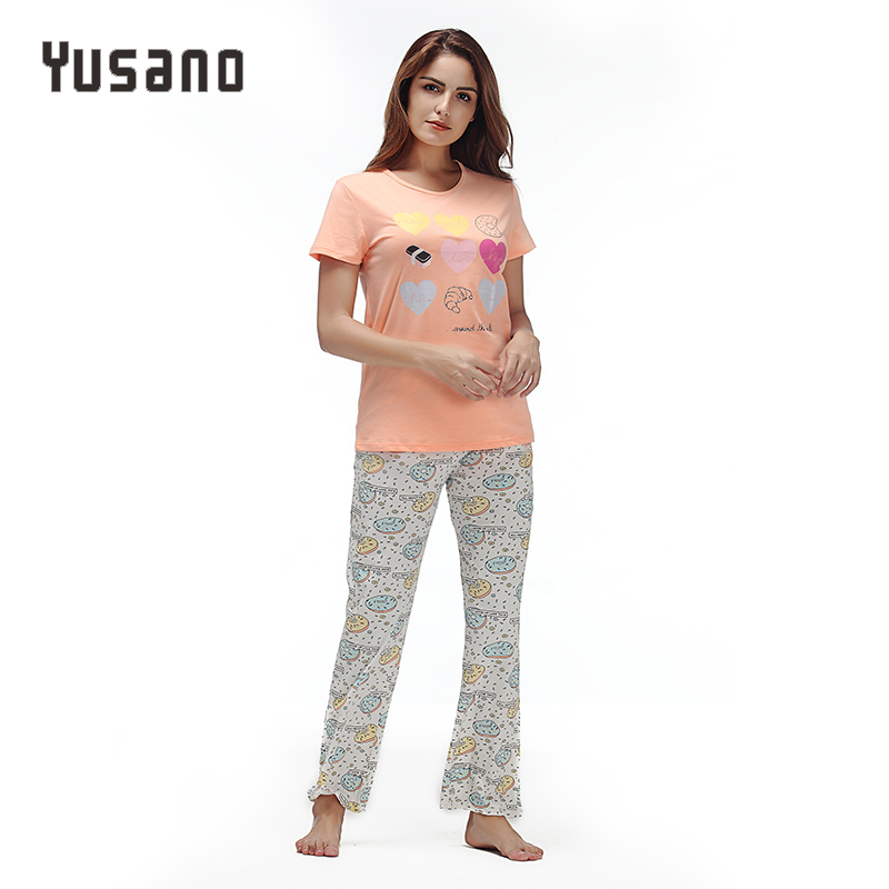 Yusano Pajamas Sets For Women Cotton Pyjamas Summer Floral Print Sleepwear Casual Womens Homewear Pijama Mujer