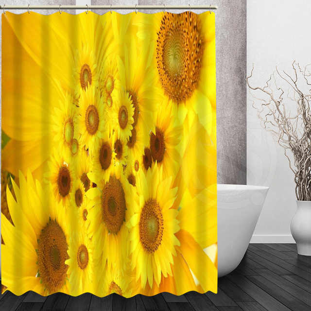 Mondern Sunflower Shower Curtain Personalized Custom Bath Waterproof Polyester For Family