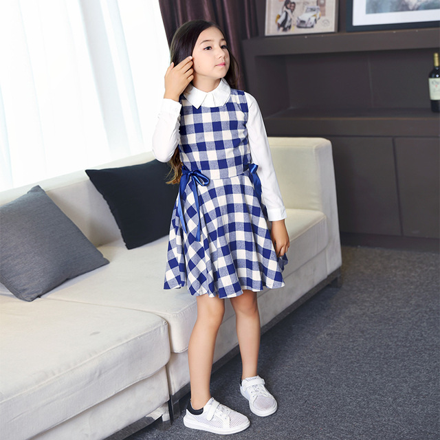 Fantastic 2016 Teens 2pcs Dress Plaid Cotton Princess Vestido Baby Girls  XO97