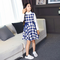 2016 Teens 2pcs Dress Plaid Cotton Princess Vestido Baby Girls Cloth Age 5 6 7 8 9 10 11 12 13 14 Years Old Birthday Girl Dress
