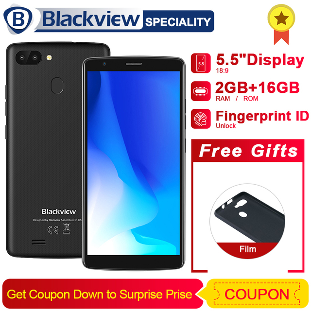 "Blackview A20 Pro Smartphone 5.5""18:9 HD+ Full Screen Android 8.1 MT6739 Quad Core 2GB 16GB Dual Back Cams 3000mAh GPS 4G Phone"