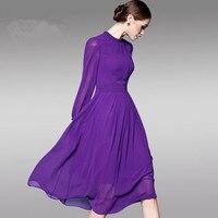 2017 Summer Spring Purple Solid Long Sleeve Swing Vintage Chiffon Ladies Dress Casual Maxi Dress