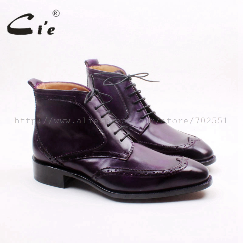 cie square toe wingtip lace-up calf leather boot bespoke handmade genuine leather purple men's boots Goodyear welted A157 купить часы haas lt cie mfh211 zsa