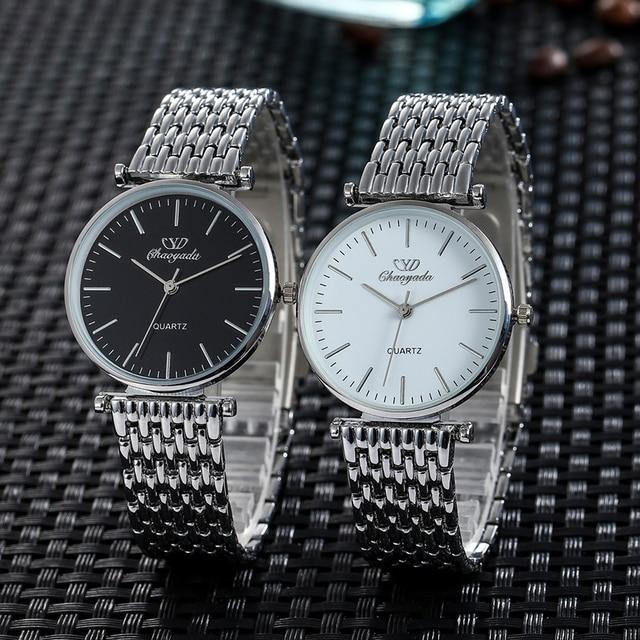 2018 women men couples lovers stainless steel quartz wristwatches office ladies