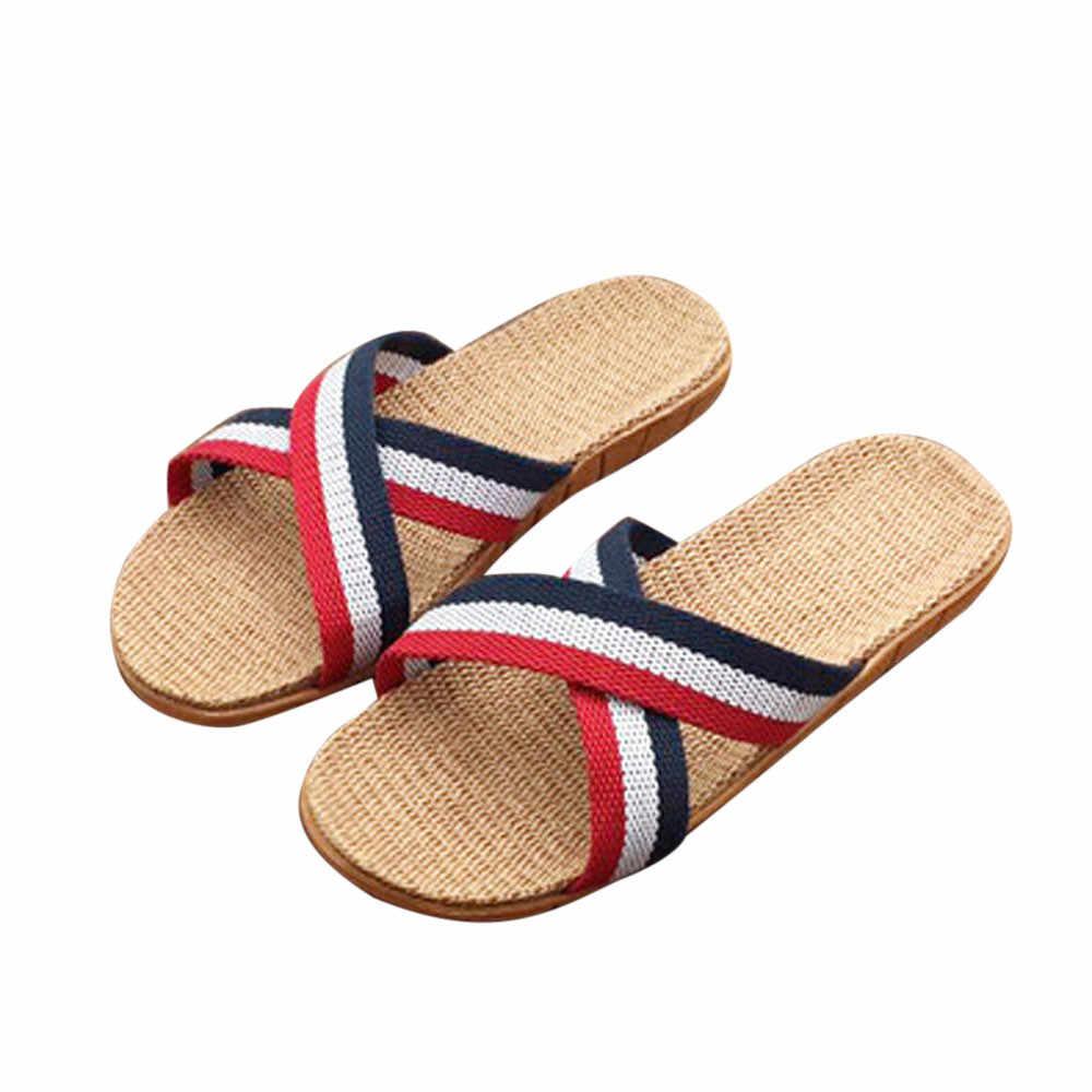 SAGACE Shoes Women Summer Slippers Women Men Anti-slip Linen Indoor Beach Slippers Home Open Toe Flats Shoes Slippers 2019