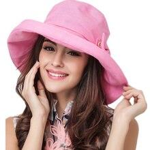 Sombreros de Sol de algodón de ala grande para mujeres de verano sombrero  de vacaciones de playa plegable con visera Bowknot gor. 206ce19fd4f