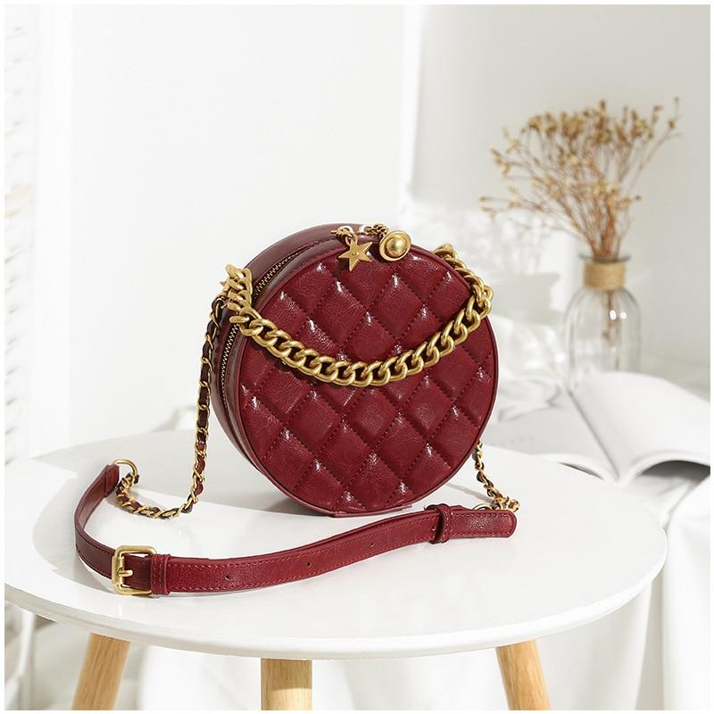 2019 Summer Hot Round Small Mini High Quality Copper Leather Bag for Women Diamond Lattice Street Fashion Wallet Purse Women Bag