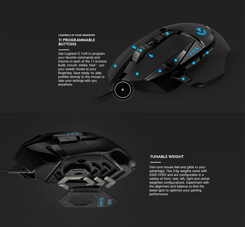 US $79 99 |Logitech original G502 HERO High Performance Gaming Mouse 16,000  DPI 11 Customizable Buttons and Onboard Memory G502 RGB upgrade-in Mice