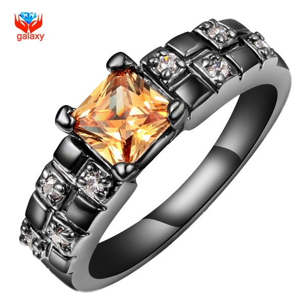 YHAMNI Brand Unique Black Gold Filled Engagement Ring Fashion Jewelry With 8mm Yellow Zircon Wedding Rings For Women YH187