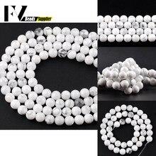 Natural mármore howlite branco turquesa contas de pedra para fazer jóias 4 6 8 10mm gema contas redondas diy pulseira acessórios