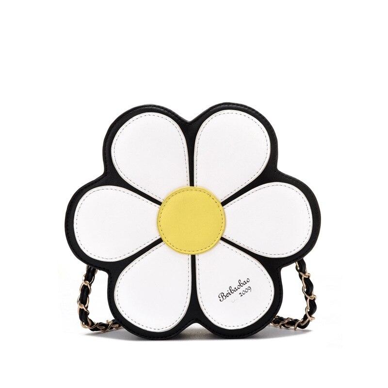 Bolsa de Noche de las mujeres Flor Pequeña Bolsa de Hombro de Cadena de Cuero Bo