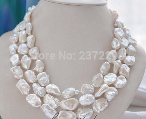 Wholesale price FREE SHIPPING^^^^^3strands 19mm BAROQUE white KESHI REBORN PEARL NECKLACE mabe clasp цена и фото