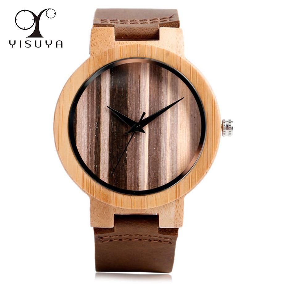 Retro Style Strip Dial Wood Watch Leather Strap Men's Quartz Movement Simple Wrist Watch Clock Gifts relogio masculino