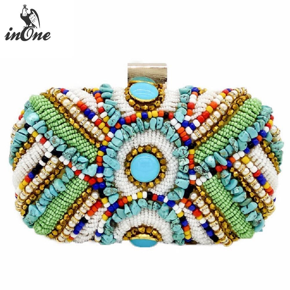 INONE bohème perles de couleur pierre de mariage nuptiale soirée sac embrayage épaule bandoulière sacs pour femmes 2019 sacs à main sac à main