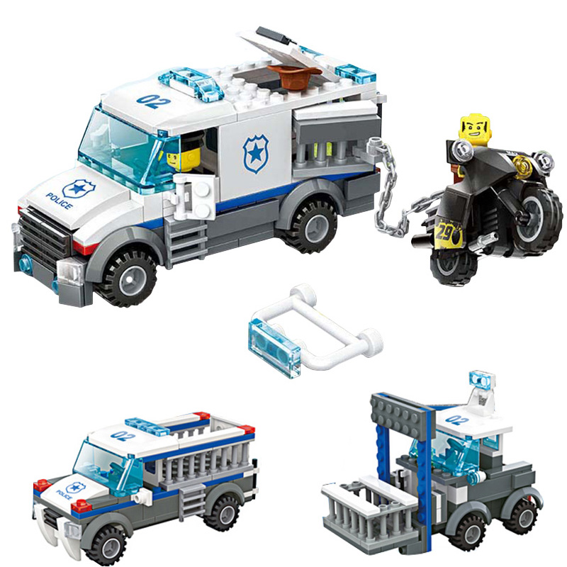 WANGE Prisoners Car City Police 3 In 1 Building Block Model Bricks 214Pcs Classic Creative DIY Toys Gifts For Children wange city fire emergency truck action model building block sets bricks 567pcs classic educational toys gifts for children