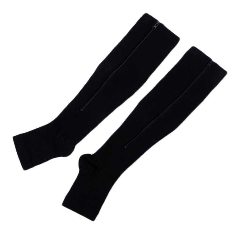 62ed76454 ... 2017 New Women Zipper Compression Socks Zip Leg Support Knee Socks Open  Toe Sock Fashion and ...