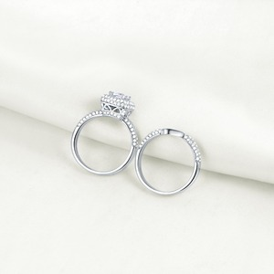 Image 3 - Newshe Solid 925 Sterling Silver Wedding Rings For Women 2.9 Ct Cushion Cut AAA CZ Engagement Ring Bridal Set