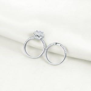 Image 3 - Newshe sólida plata 925 anillos de boda para mujeres 2,9 Ct corte cojín AAA CZ anillo de compromiso conjunto nupcial
